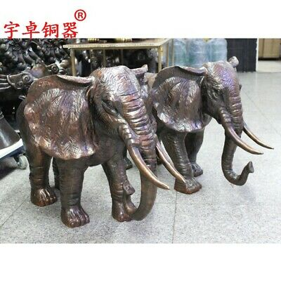 90 cm China pure Bronze Copper Elephant auspicious Wealth Fengshui Animal Statue