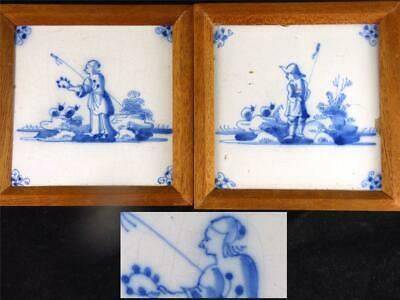 Pair Antique 18Th Century Delft Tiles Underglaze Blue Fishing Scene