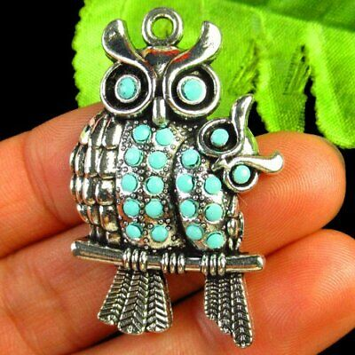 Carved Tibetan silver Wrapped Turquoise Owl Pendant Bead 41x27x3mm L06049
