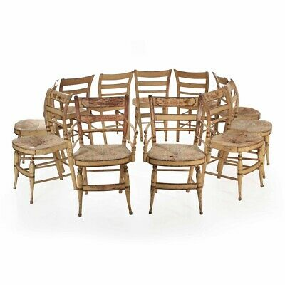 """Set Eleven American Sheraton """"Fancy"""" Painted Dining Chairs, New York ca. 1815-30"""