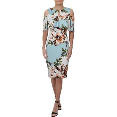 Jax Womens Pink Cold Shoulder Floral Print Day to Night Midi Dress 8 BHFO 9539