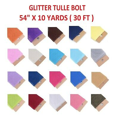 "GLITTER Tulle Fabric Bolt 54"" X 10yds Wedding Bridal Party Decoration Tutu Craft"