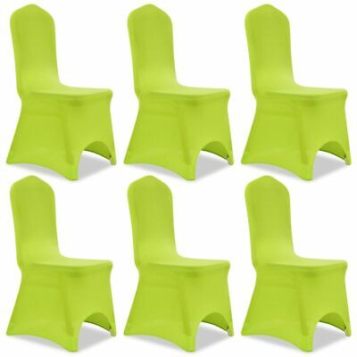 6 Removable Stretch Chairs Seat Cover Party Wedding Banquet Conference Green#
