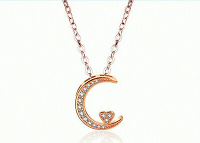 Rose Gold Heart Moon Pendant 925 Sterling Silver Chain Necklace Womens Jewellery