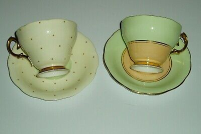 Lot of vintage china tea cups and saucers , FLAWED , Bell china , green