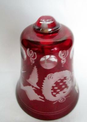 Egermann Czech Ruby Etched Bohemian Glass Bell Vintage Kt1259