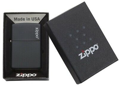 Zippo Windproof Black Matte  w  Zippo Logo Pocket Lighter - NEW in Box