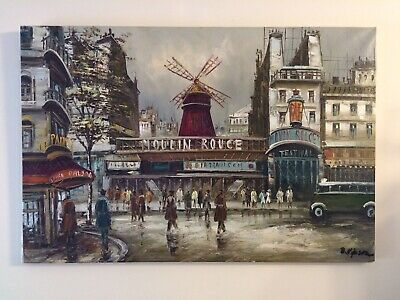 Large Original French Oil Painting On Canvas, Paris, Moulin Rouge, Signed