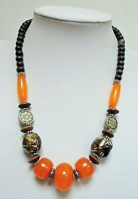 Large vintage silver metal & faux butterscotch amber bead necklace