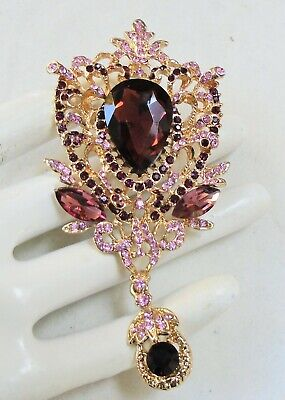 Stunning very large gold metal & amethyst paste brooch/pendant