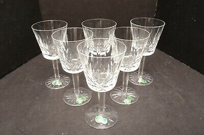 "Waterford Crystal Lismore Pattern Set 6 Claret Wine Glasses  5.75"" W STICKERS"
