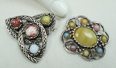 Two large vintage Scottish silver metal & agate glass brooches