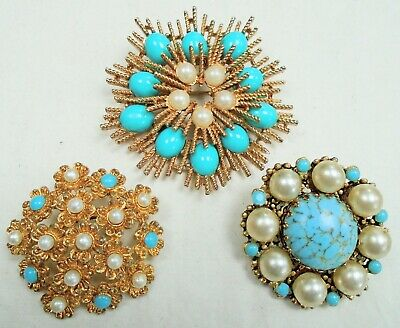 Three good quality large vintage gold metal, pearl & turquoise glass brooches