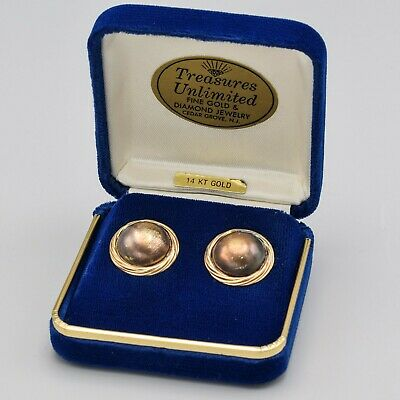 Vintage 14K Yellow Gold & Sterling Silver Round Stud Earrings 3.1 Grams