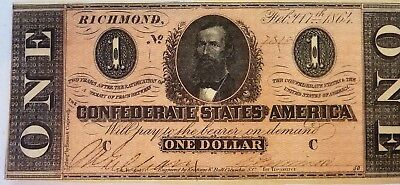 1864 Confederate Currency USA $1 Richmond Bank Note #7319