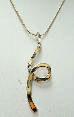 Fine large vintage sterling silver, m-o-p & abalone pendant + sterling chain