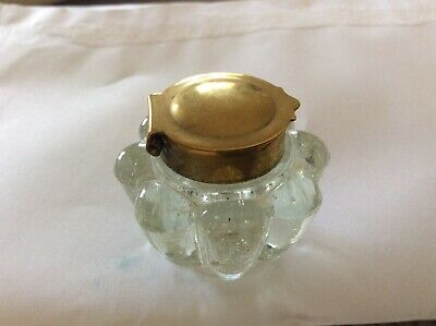 Antique Glass Inkwell, Ink Pot, Very Small, Hinged Brass Lid, Ribbed Glass