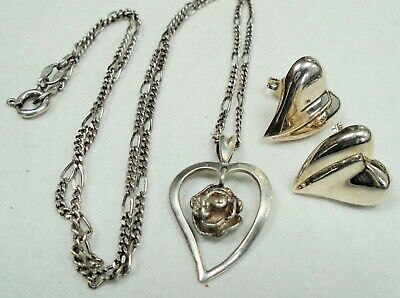 Fine quality vintage sterling silver heart pendant & chain + sterling earrings
