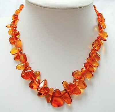 Good vintage real amber bead collar necklace