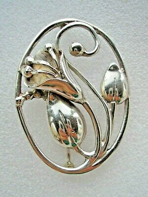 Beautiful large vintage Art Nouveau design Silver brooch with Lily