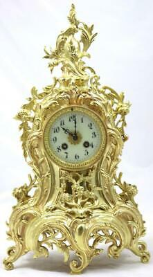 Antique Mantle Clock Beautiful French Rococo Gilt Bronze Bell Striking Japy