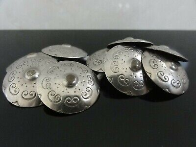 Victorian Edwardian Rare Set Of 10 Engraved Embossed Silver Plated Buttons