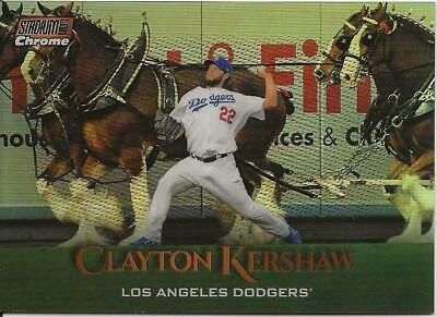 2019 Topps Stadium Club CLAYTON KERSHAW Chrome Orange Refractor 48/99 Dodgers