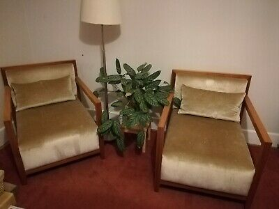 Pair of art deco armchairs retro lounge chairs