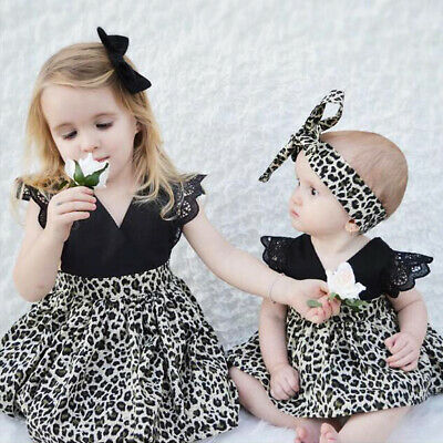 Little Big Sister Matching Outfit Kid Baby Girl Romper Tutu Dress Family Clothes