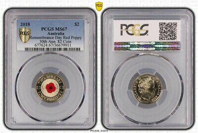 2018 Australia Remembrance Day Coloured Red Poppy $2 Coin PCGS MS67