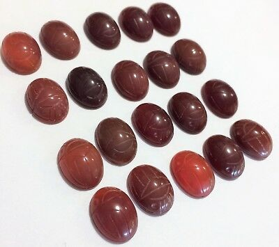 Vintage Lot 20 Loose Carnelian Scarab Cabochons 12x16mm Carved Stone 119