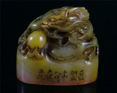 Old Chinese Soapstone Carved Chop Seal Statue POWERFUL DRAGON ON TOP