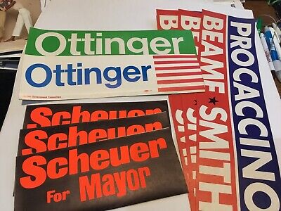 (8) 1969 Nyc Democratic Primary Bumper Stickers,Scheuer,Procaccino, Ottinger,