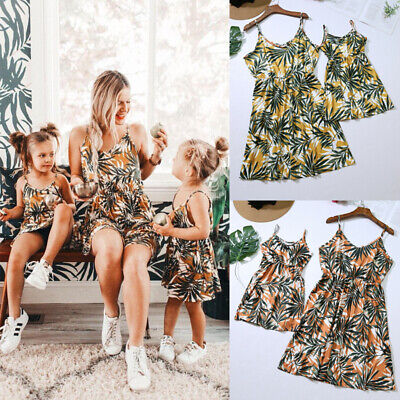9fe0d1ca62eb95 Summer Family Matching Clothes Mother Daughter Kids Girls Casual Floral  Dresses