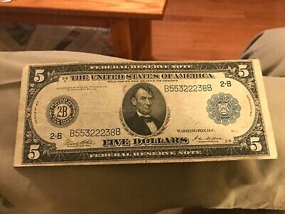 1914 New York, NY ,  $5 federal reserve bank note ,