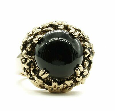 Adjustable Fashion Ring with Simulated Onyx Stone in Antiqued Gold Tone Floral S