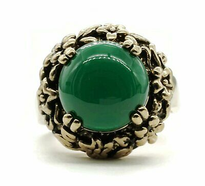 Adjustable Fashion Ring with Simulated Green Agate Stone in Antiqued Gold Tone F
