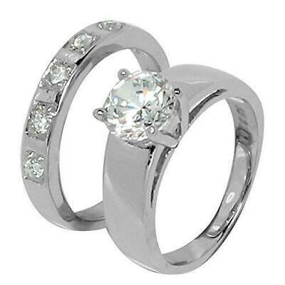 Beautiful Two Piece Round CZ Wedding Set Style Stainless Steel Ring with 5 CZ St