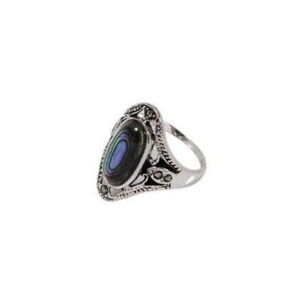Antique Style Sterling Silver Ring Genuine Abalone Oval Center Stone Marcasite R
