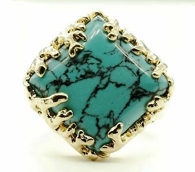 Coral Wrapped Offset Square Simulated Turquoise Stone Adjustable Fashion Ring in