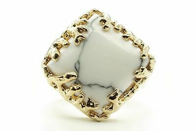 Coral Wrapped Offset Square Simulated Howlite Stone Adjustable Fashion Ring in G