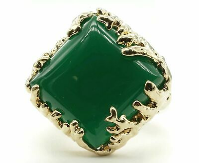 Coral Wrapped Offset Square Simulated Green Agate Stone Adjustable Fashion Ring