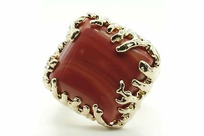 Coral Wrapped Offset Square Simulated Coral Adjustable Fashion Ring in Gold tone