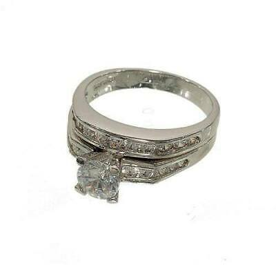 Silver tone Two Piece Ring Wedding Set Round Solitaire Channel Set Sides Wedding