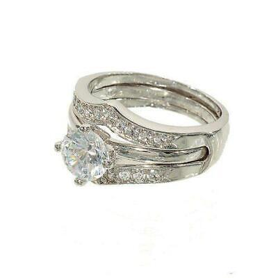 Silver tone Two Piece Ring Wedding Set Round Solitaire and Two Row Chevron Ring