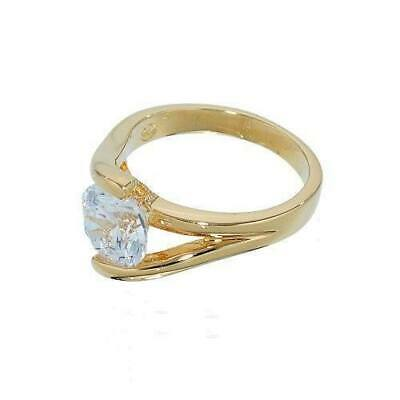 Twist Setting Single Stone Gold tone Solitaire Engagement Style Ring in Genuine