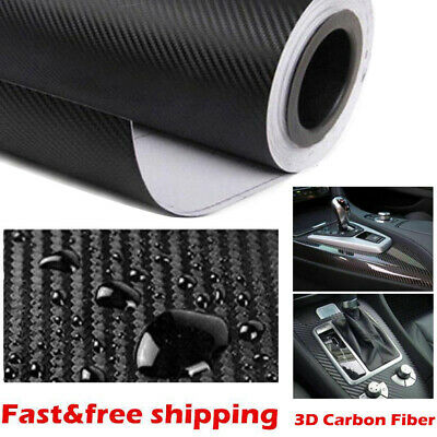 Cars 3D Carbon Fibre Vinyl Wrap (Air / Bubble Free) Black 2m x 600mm Roll Film