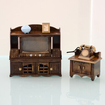 Sylvanian Families CLASSIC BROWN TV and PHONE STAND SET Calico EPOCH