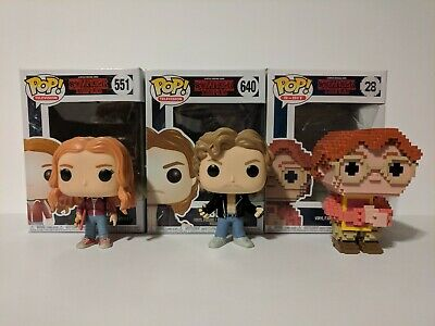Funko Pop Television Stranger Things #551 Max, #640 Billy, 8 Bit #28 Barb - Used