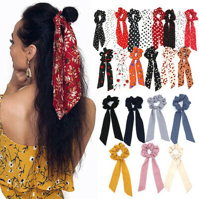 Boho Print Ponytail Scarf Bow Elastic Cloth Hair Rope Tie Ribbon Hair Bands--
